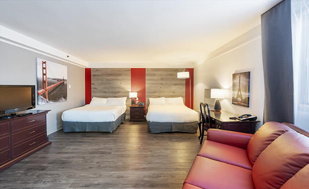 Traditional Room with 2 Double Beds, Sofa Bed and Whirlpool Bath (#2) of Hotel Québec Inn of JARO Hotels