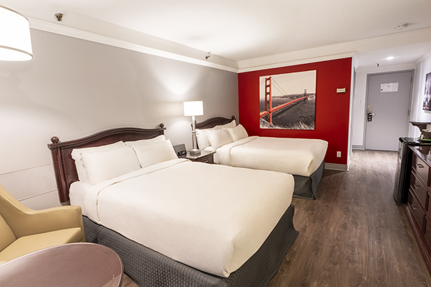 Traditional Room with 2 Double Beds and Garden View Terrace (#13) of  Hotel Québec Inn (by JARO Hotels of Quebec City)