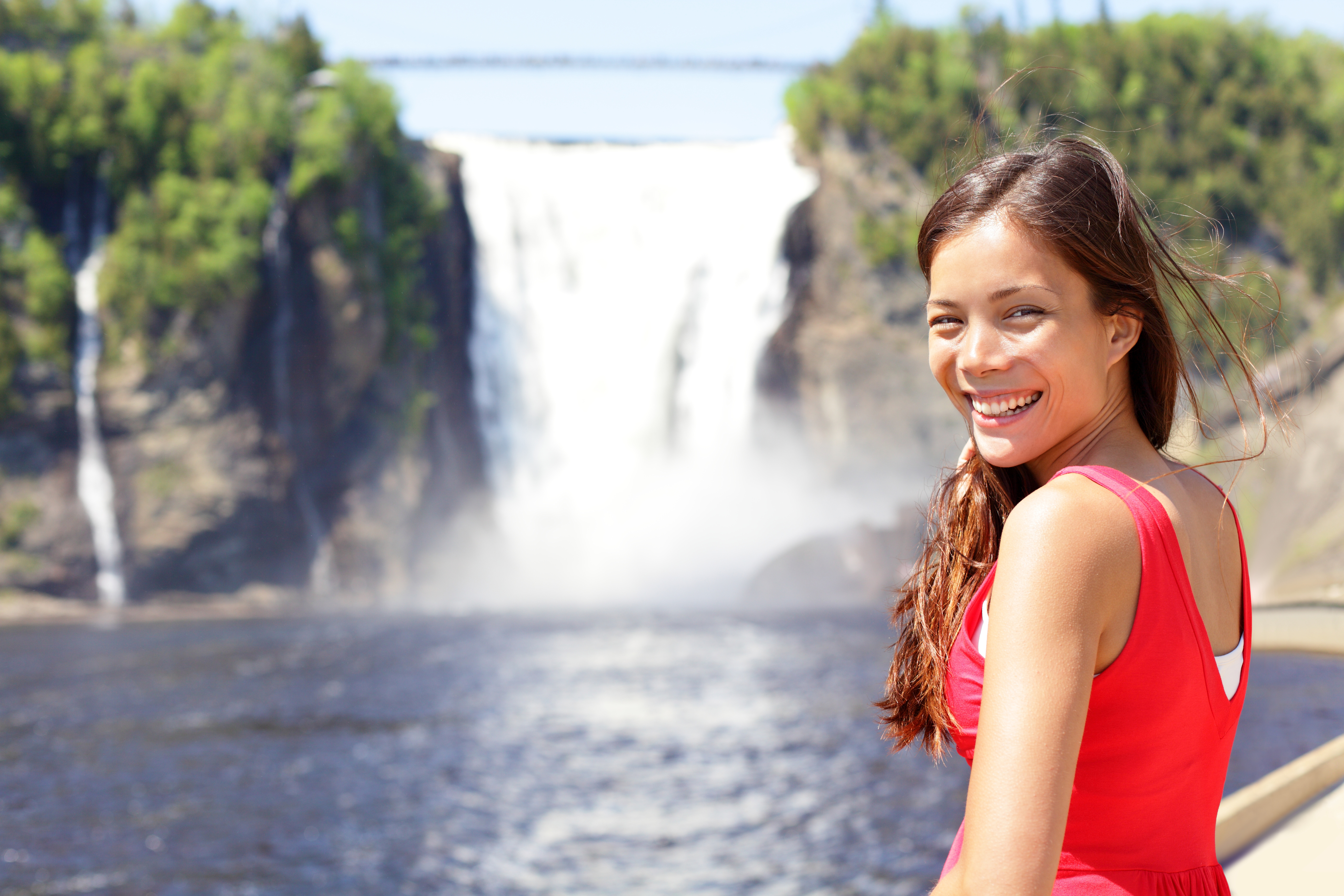 Chute Montmorency fallsquebec and woman tourist