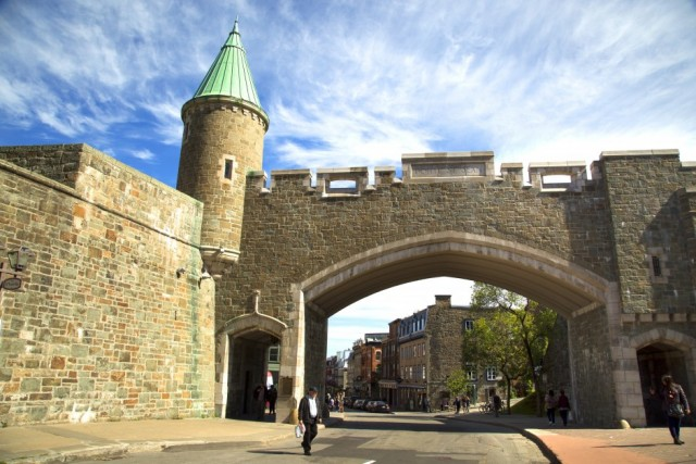 QUEBEC-CANADA 16 sept 2016:   St-John gate in Quebec city, Canada is an UNESCO world heritage treasure.