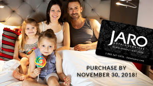 Gift Cards and gift packages deal from JARO Hotels of Quebec City