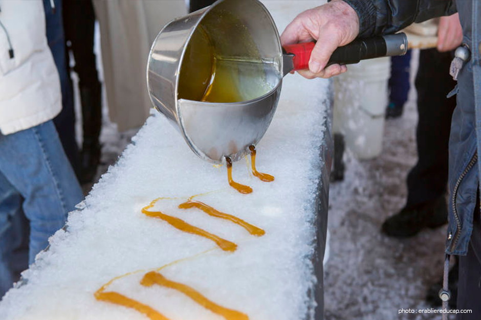 Things to do in April - Maple taffy on snow