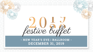 New Year's Eve Buffet served in the ballroom of Hotel Palace Royal