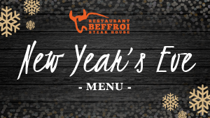 New Year's Eve Menu of Restaurant Beffroi Steak House located in Hotel Palace Royal (JARO Hotels)
